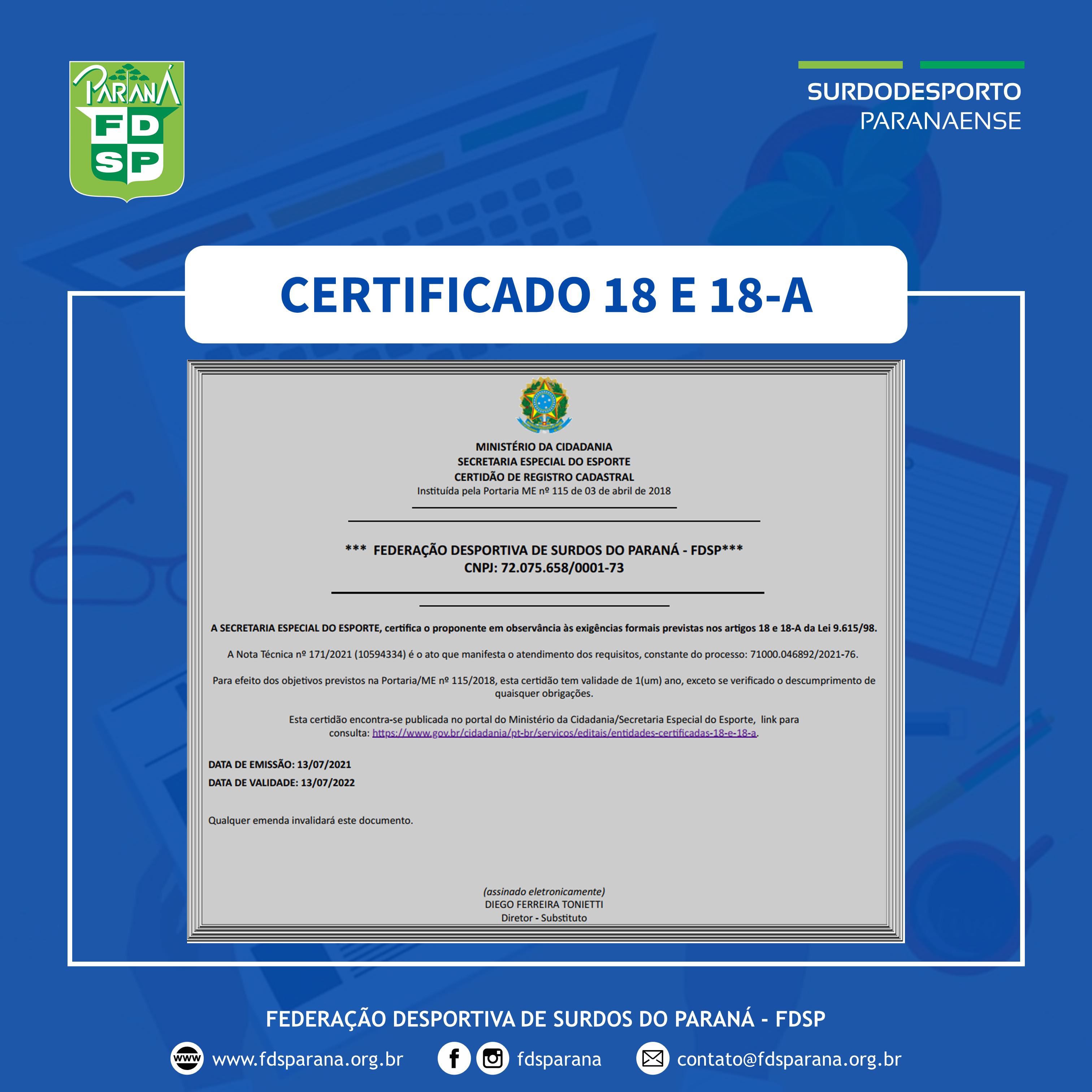 Certificado 18 e 18-A - Ano 2021
