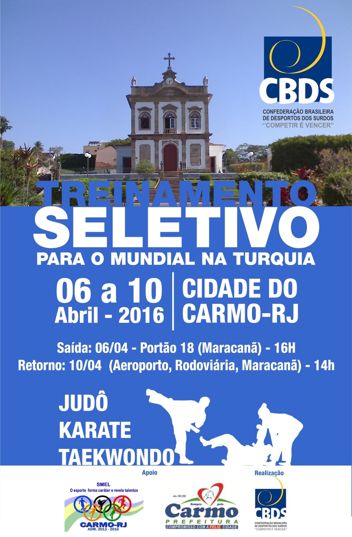 Cartaz Treinamento Seletivo 2016 - abril em Carmo-RJ